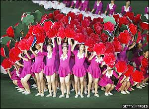 North Koreans perform during the Arirang festival which is a part of commemorations marking the 60th anniversary of the Workers' Party of North Korea on October 6, 2005 in Pyongyang, North Korea.