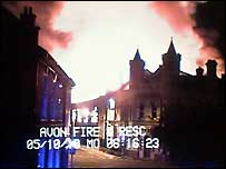Firefighters' footage of the blaze which wrecked Aardman Animations' warehouse