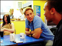 Prince William meets young people while volunteering