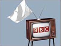TV set with white flag