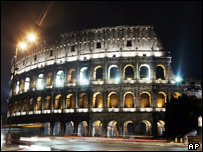 The Colosseum is lit up in Rome on news of Ms Sgrena's release