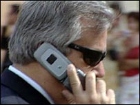 Italian man talking on his mobile phone