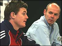 Brian O'Driscoll and Sir Clive Woodward speak to the press on the Lions tour