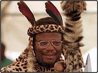 Prince Mangosuthu Buthelezi, leader of South Africa's opposition Inkatha Freedom Party