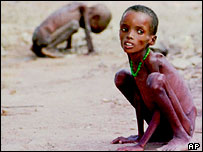 Starving children on dry barren land in Africa.  Image: AP