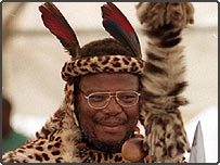 Prince Mangosuthu Buthelezi, leader of South Africa's opposition Inkatha Freedom Party