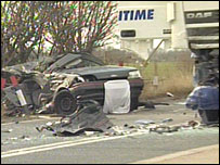 The car and lorry involved in the crash