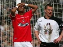 Charlton striker Shaun Bartlett misses a glorious chance
