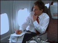 Blair on aeroplane (PA)