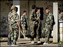 Syrian soldiers at a Syrian Army base near the Aley village in Lebanon