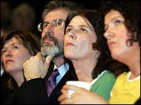 Gerry Adams flanked by Robert McCartney's sisters