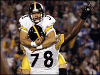 Steelers kicker Jeff Reed celebrates