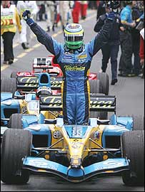Giancarlo Fisichella celebrates victory in the Australian Grand Prix