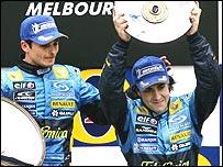 Giancarlo Fisichella and Fernando Alonso on the podium for the Australian Grand Prix
