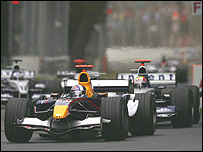 David Coulthard had race-long pressure from Mark Webber
