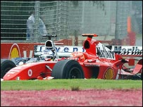 Michael Schumacher and Nick Heidfeld crash in the Australian Grand Prix