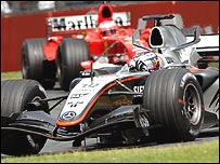 Juan Pablo Montoya lead Rubens Barrichello for much of the race until his mistake