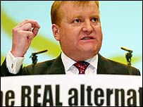 Charles Kennedy unveils the Lib Dems election slogan