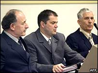 Accused former Yugoslav Army officers (left to right) Veselin Sljivancanin, Miroslav Radic and Mile Mrksic