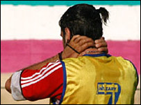 An Iranian footballer at training