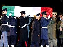 Calipari's coffin arrives in Rome