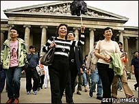 Chinese tourists in London at the British Museum