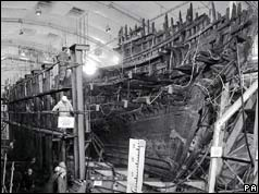 Mary Rose in dry dock - 1985