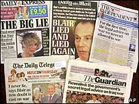 Six newspaper front pages
