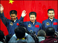 Three Chinese astronauts Nie Haisheng, left, Yang Liwei, centre, and Zhai Zhigang, Tuesday, Oct. 14, 2003 file photo
