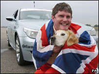 Mike Newman with his guide dog Ross