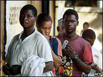 Voters outside a polling station in a secondary school in Maputo, Mozambique