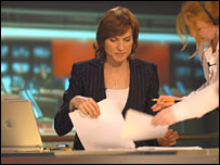 Fiona Bruce prepares to read the Ten O'Clock News