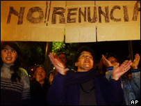 Supporters of Bolivian President Carlos Mesa