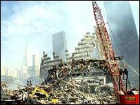 The World Trade Centre in the aftermath of the attacks