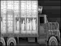 Picture from lorry x-ray machine similar to those based at Dover and Calais