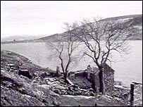 Demolished homes in the Tryweryn valley, circa 1965