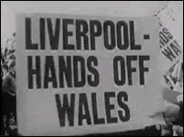 Sign during the campaign to stop the 1965 flooding of the Tryweryn valley