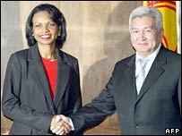 US Secretary of State Condoleezza Rice and Kyrgyz PM Felix Kulov