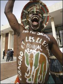 An Ivorian fan