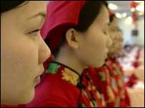 Waitresses in line at Jincaiching Restaurant