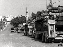 Syrian trucks on the outskirts of Beirut, 1977