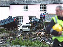 The aftermath of the Boscastle flooding