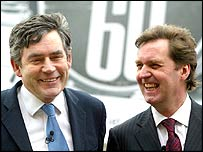 Gordon Brown and Alan Milburn at a poster campaign launch
