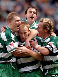Yeovil celebrate scoring in an FA Cup match