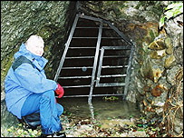 The CCW's Pauline Barber next to one of the new sealed caves
