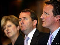 Theresa May, Liam Fox and David Cameron at the Tory conference
