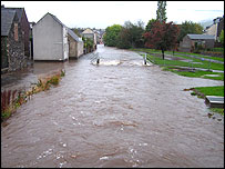 Flooding in Peebles - image supplied by Ecosse Pix
