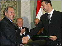 Emile Lahoud and Bashar al-Assad meet on Monday