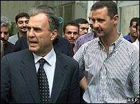 Ghazi Kanaan, with future Syrian President Bashar al-Assad in Lebanon in 1999