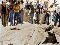 Relatives surround the bodies of the dead inmates
